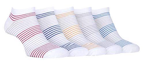 Farah - 5 Pairs Mens Striped Design Low Cut Quarter Cotton Sport Ankle Socks (CS176WTE, 7-12 US)