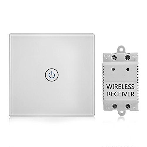 Lichtschalter Funkschalter Set Empfänger Kit Fernbedienung Deckenleuchte LED Birne Glasplatte Klebeband Installation Touch Sensitive