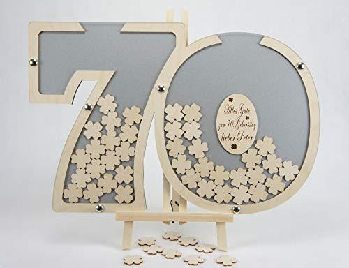 Laserano Gästebuch 70. Geburtstag personalisierbar (Silber) 60x40cm