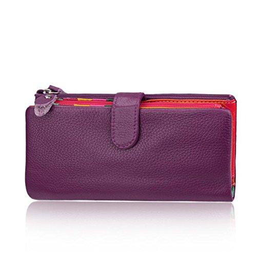 AprinCtempsD Damen Geldbörse Echt Leder Portemonnaie Bunt Clutch Lange Geldbeutel Große Kapazität mit Reißverschluss (Lila)