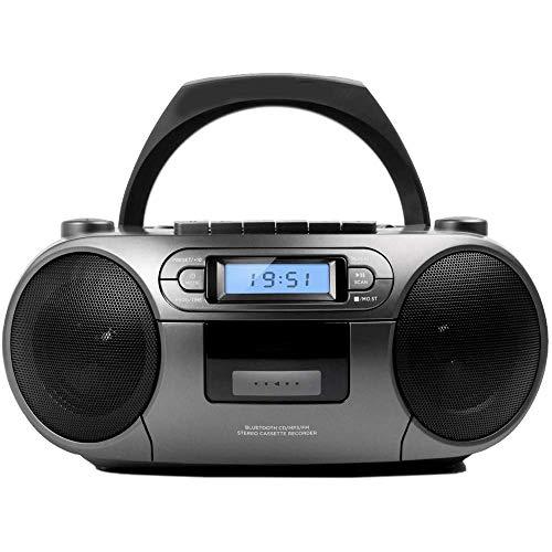 WFGZQ Radio portátil, Radio de Casete portátil con CD, Bluetooth y USB, Grabadora de Casete, Radio FM con Altavoz Dual