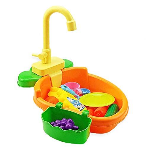 ZYCX123 Lavavajillas de Juguete para niños Fregadero Simulación Niños baño del pájaro de contenedores eléctrico con Regalo Corriente Sistema Ciclo del Agua para los niños