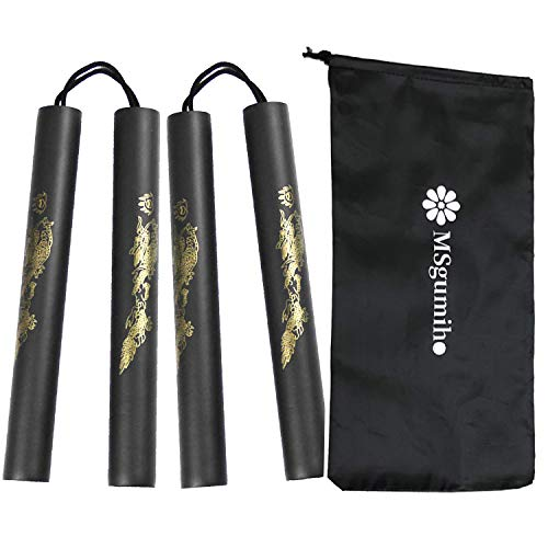 MSGumiho Nunchucks Nunchakus Safe Foam Rubber Training with Steel Chain 2PCS for Kids & Beginners Practice and Training (Black)