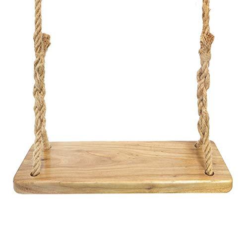 Aoneky Columpio de Madera para Adultos Niños - Columpio Colgante Infantil para Jardín Exterior, Carga de 160 kg, Asiento de Madera Paulownia 60×20 cm, Cuerda de Yute de 3M, Marrón