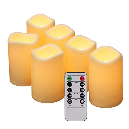 Outdoor Flameless Candles Flickering, 6 Pack (4.5' x 3') LED Pillar Candles Battery Operated Electric Candles for Wedding Party Decorations and Indoor Decor, Ivory