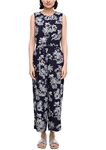s.Oliver Damen Overall lang Dark Blue AOP Palm Trees 36