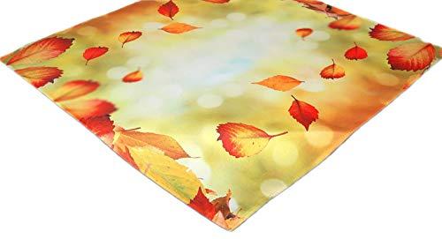 Farbenfrohe Tischdecke 85x85 cm Herbst Hellgrün Blätter Blatt Bunt Mitteldecke Decke Pflegeleicht Bügelfrei (85 x 85 cm)
