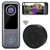 【2021 Upgraded】 WiFi Video Doorbell Camera, XTU Wired Doorbell Camera with Chime, 2K Ultra HD, 2-Way Audio, Night Vision, Easy Installation, Motion Detection, IP65 Waterproof