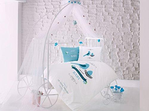 Sweet Sleep Oiseaux Bleu Lit Bébé Housse de couette de lit, 100% coton doux et Sain Parure de lit 4 pièces
