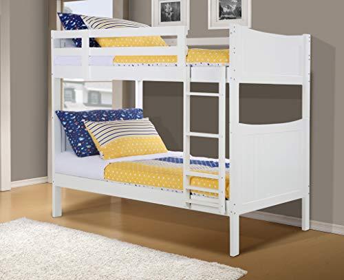 Konrad Furniture Milan Solid Hardwood Bunk Bed Twin/Twin (White)