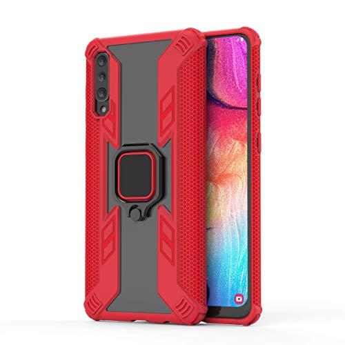Für Samsung Galaxy A30 | A50(2018) Hülle, Hard Case Bracket Ring Handyhülle, Entwickelt für Ihre Handysicherheit, Anti-Rutsch Super Textur Unterstützung Cover, rot, Large