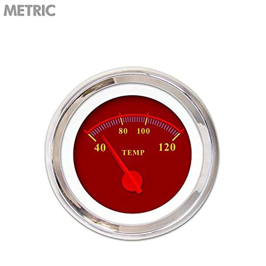 Aurora Instruments 4911 Omega Red Metric Water Temperature Gauge (Red Modern Needles, Chrome Trim Rings, Style Kit Installed)