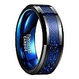 Herren Damen Ring Schwarz Blau mit Keltischen Drachen & Blauen Kohlefasern aus Wolframcarbid für Hobby Freizeit Lifestyle Fashion Verlobung Valentinstag Größe 70 (22,3)