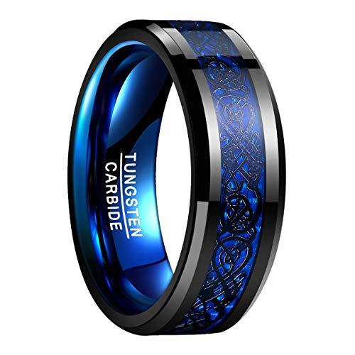 Ring Drachen Schwarz + Blau aus Wolframcarbid ohne Stein 8mm für Männer & Frauen Partnerringe Verlobungsring für Lifestyle Hobby Fashion Größe 59 (18,8)