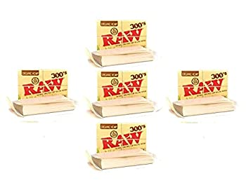 RAW 300 Organic 1.25 1 1/4 Size Rolling Papers 5 Pack = 1500 Leaves Tan 300 Count  Pack of 5