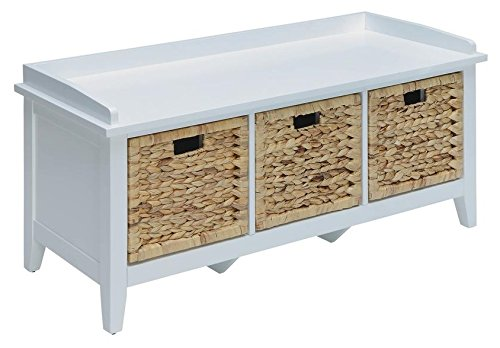 Major-Q Bench with Storage for Living Room/Entryway/Hallway, 3 Basket Drawers, White Finish 43 in. L x 16 in. D x 18 in. H