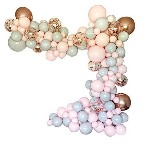 Tashido 169 unidades de macarons - Kit de globos de color rosa y gris - Ideal para confeti de oro rosa - Ideal para decoración de fiestas de bodas, baby showers