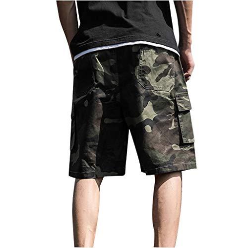 Herren Outdoor Sommer Freizeit Shorts Sport Camouflage Arbeitshose Kurze Hosen Tasche Cargo Bermuda Stretch Fitness Schnell Trocknende Laufshorts (7XL, Armeegrün)