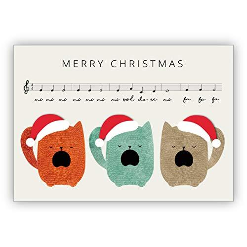 1 Lustige Weihnachtskarte mit Katzen Chor: Merry Christmas • als nette Weihnachts Glückwunschkarte zu Neujahr, Silvester für Familie und Firma
