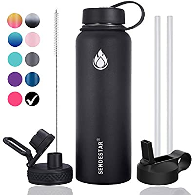 SENDESTAR 40 oz Double Wall Vacuum Insulated Leak Proof Stainless Steel Sports Water Bottle—Wide Mouth with Straw Lid & Flex Cap & Spout Lid (Black)