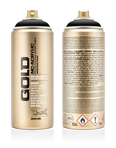 Montana Cans MXG-S9000 Montana Gold 400 ml Color, Shock Black Spray Paint