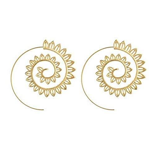 Bassette Personalidad Deseo de Velocidad Hojas Espiral Que Gira los Romanos Pendientes Pendientes de Las Hojas de la joyería Femenina de Plata para Mujer Niña (Color : Silver)