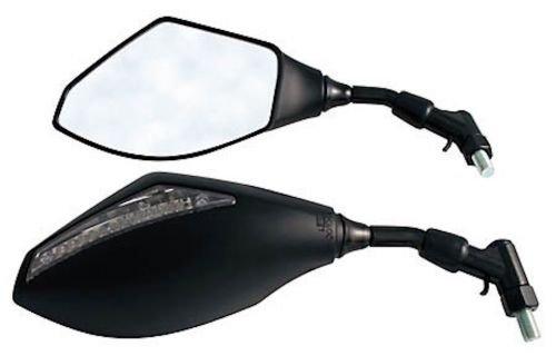 Lenker Spiegel Set mit LED Blinker Schwarz für Motorrad Roller Quad E-Prüfzeichen