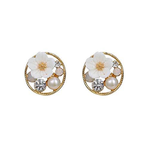 Yhhzw Pendientes De Botón Clásicos De Metal Redondo Para Mujer, Joyería Simple Con Perlas De Flores Dulces