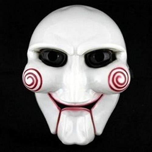 Fiesta de Halloween Cosplay Billy Jigsaw Saw Máscara de Marionetas Accesorios de Disfraces de Disfraces Populares Aumentar el Ambiente Festivo 2pcs, Blanco