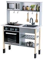 Theo Klein 7199 Miele Kitchen I Witte houten keuken incl. kookplaat met geluid en licht I Afmetingen: 70 cm x 30 cm x 91 cm | Edele keukenaccessoires gemaakt van roestvrij staal (niet verwarmbaar) en hout*