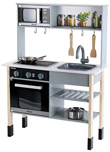Theo Klein 7199 Miele Küche I Weiße Holzküche inkl. Kochfeld mit Sound- und Licht I Maße: 70 cm x 30 cm x 91 cm | Edles Küchen-Zubehör aus Edelstahl (nicht erhitzbar) und Holz