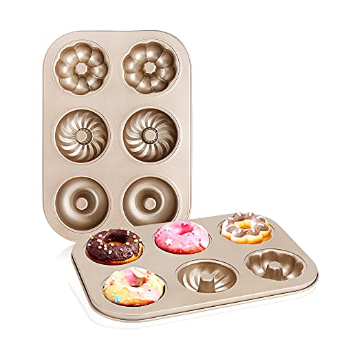 Donut Mold Cake Pan 6-Cavity, Beasea 2 Pack Nonstick Donut and Bagel Pan Donut Baking Pans Donut Molder, Carbon Steel Mini Donut Mold, Donut Tray Bagels Mold for Baking
