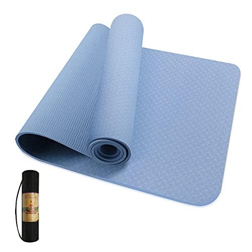 Husmeu Yogamatte Rutschfest, TPE Yogamatte, Gynastikmatte Fitnessmatte Trainingsmatte Sportmatte mit Tasche für Yoga Pilates Gymnastik, 183cm x 61cm x 0.6 cm