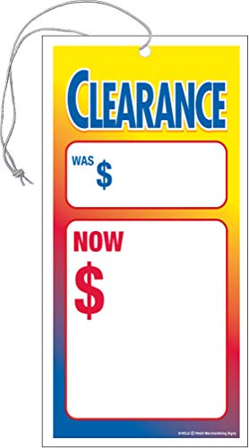 S05CLE | Clearance | Sale Elastic Knotted Price Sale Tags with Strings Merchandising Hang Tags | Pack of 100 | 1 7/8' x 3 5/8'