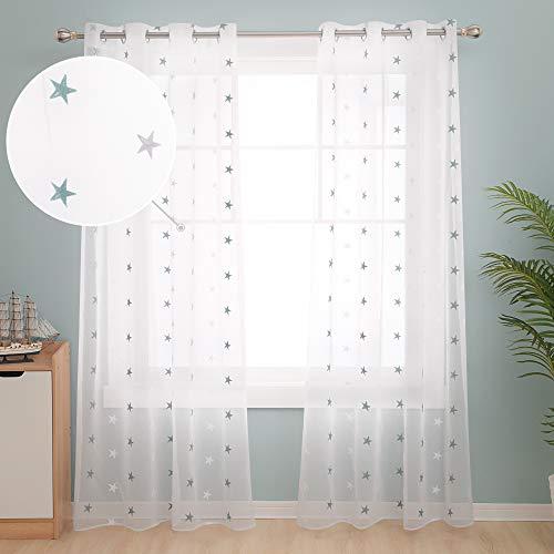 Deconovo Cortinas Visillos para Ventana Cortina Transparente con Ojales para Dormitorio y Salón 2 Piezas 140 x 290 cm Azul Verde