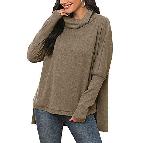 Las mujeres 's drapeado cuello de capucha Color sólido Camisas Top Primavera Otoño Casual Manga Larga Asimétrica Ligero Sudaderas
