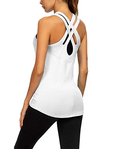 Loovoo Sexy Comfortable Sports Tank Tops Cute Sleep Shirts for Pregnacy White S