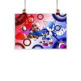 Lienzo artístico de Super Mario 3D World Background As a Present Mario VS Sonic Video Game sin marco, 61 x 45 cm