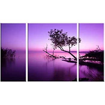 Purple Lake Art on Canvas Picture Contemporary Modern Home Decor Wall Art Print