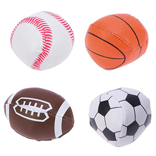 NUOBESTY Pelotas deportivas, duraderas, pequeñas y pequeñas, para escuelas, carnaval, recompensa y recompensa, para niños, 4 unidades de fútbol, béisbol, baloncesto, rugby