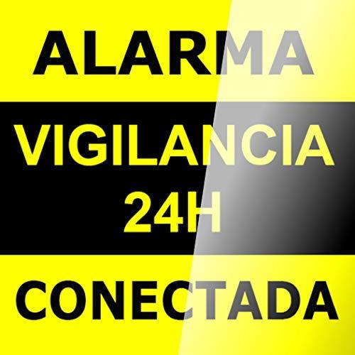 AAPC - Cartel autoadhesivo para cristal 15x15 Alarma Conectada Videovigilancia 24H
