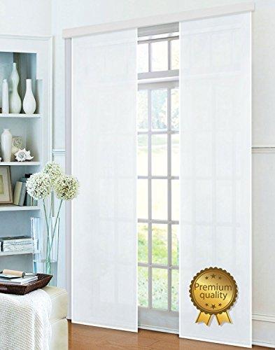 Gardinenbox Flächenvorhang, Schiebegardine Blickdicht matt, Weiß Premium, aus Micro Satin (Mikrofaser Gewebe), mit Paneelwagen und Beschwerungsstange -85600-, 85600