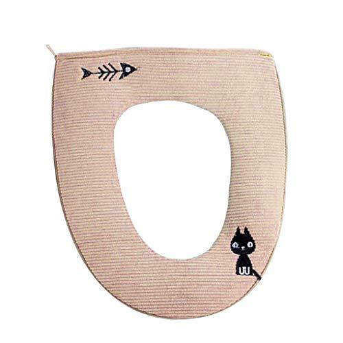 WWY Hot Venta Baño Protector Cierra Herramienta Suave cálido Toda Forma WC Cubierta de Asiento de la Tapa del cojín Decoración de Navidad Cubierta de Asiento de Inodoro (Color : Beige)