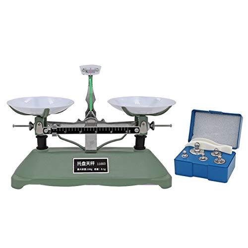 Balance de laboratoire mécanique avec plateau de 100 g avec poids d'étalonnage (5 g, 10 g, 20 g, 50 g) et 1 pince en plastique