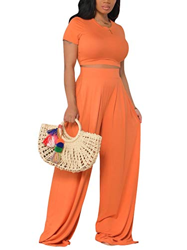 Women's Sexy 2 Piece Outfits Short Sleeve Crop Top High Waist Wide Leg Pants Sets Jumpsuits Rompers Orange X-Large