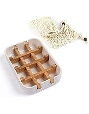 ETHEL 1 Jabonera de Bambú y 2 Bolsas de jabón, bambú Bandeja de jabón Jabonera de Madera Jabonera con Drenaje Jabonera con Desagüe de Bambú, para La Cocina Ducha de baño Fregadero (Blanco)