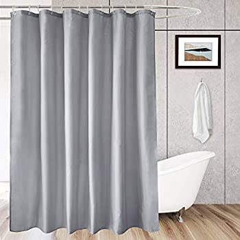 AooHome Hotel Fabric Shower Curtain Liner Solid Bathroom Curtain with Hooks Weighted Bottom Waterproof Light Grey 70 Width x 75 Height Inch