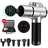 I-SMILE Massage Gun - 30 Speeds Deep Tissue Massager Gun for Cordless Handheld Electric Percussion Massage Device for Neck Back Leg Muscle,Carry Case & 6 Heads