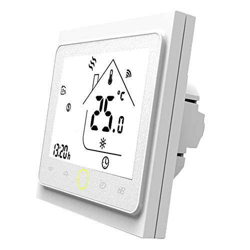 Thermostat WiFi pour chaudière gaz/eau,Thermostat intelligent Écran LCD (écran TN) Bouton tactile Rétro-éclairé programmable avec Alexa Google Home(NO google assistant) and Phone APP-White APP-Blanc