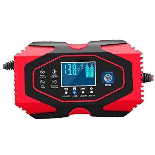 Berrywho Coche Cargador de batería de 12V 24V automático Mantenedor de Mantener y Reparar la Pantalla LCD con más Tipos de vehículos